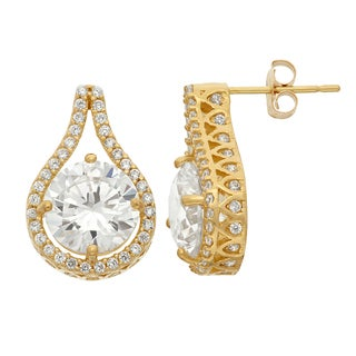 10k Yellow Gold Cubic Zirconia Designer Teardrop Earrings