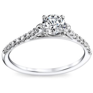 14k White Gold 3/5ct TDW Contemporary Round Diamond Engagement Ring