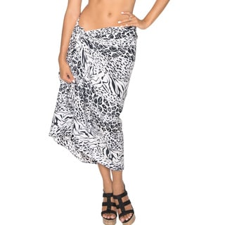 La Leela SOFT LIKRE Swimsuit Plus Abstract Skirt Dress Sarong 72X42 Inch Black