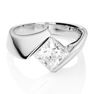Charles & Colvard 14k White Gold 1 2/3ct DEW Square Forever One Near Colorless Moissanite Solitaire Bypass Ring (Option: 7)