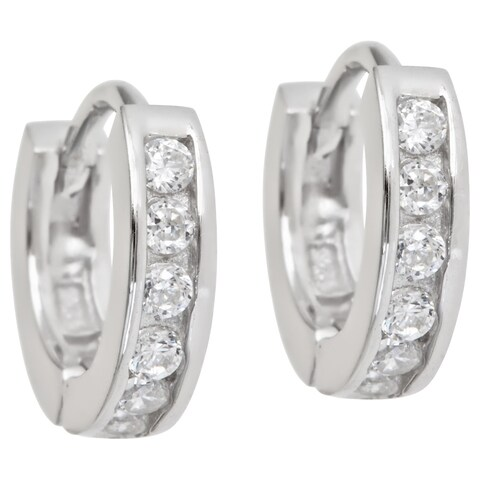 Decadence Sterling Silver Single Strand Micropave CZ Hoop Earrings