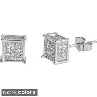 Decadence Sterling Silver Square CZ Micropave Stud Earrings
