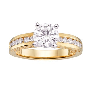 Charles & Colvard 14k Gold 1.56 TGW Round Forever Brilliant Moissanite Solitaire Ring with Sidestones