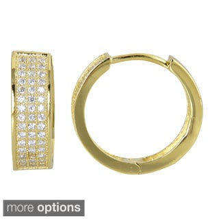 Decadence Sterling Silver Three-strand Micropave CZ Hoop Earrings