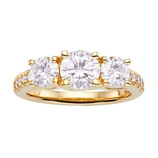 Charles & Colvard 14k Gold 2.24 TGW Round Forever Brilliant Moissanite 3-Stone Ring