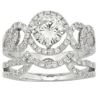Charles & Colvard 14k Gold 2.07 TGW Round Forever Brilliant Moissanite Halo Bridal Ring Set