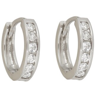 Decadence Sterling Silver Single Strand Cubic Zirconia Micropave Hoop Earrings
