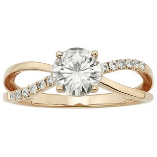 Charles & Colvard 14k Rose Gold 1.12 TGW Round Forever Brilliant Moissanite Solitaire Ring with Side