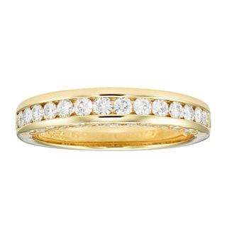 Charles & Colvard 14k Gold 0.42 TGW Round-cut Classic Moissanite Channel Band