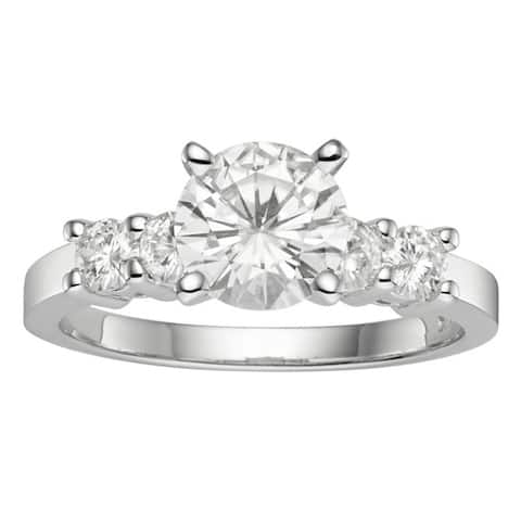Moissanite by Charles & Colvard 14k Gold 1.40 TGW Round Solitaire Ring with Sidestones
