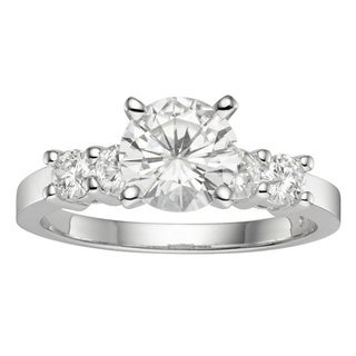 Charles & Colvard 14k Gold 1.40 TGW Round Forever Brilliant Moissanite Solitaire Ring with Sidestone
