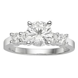 Charles & Colvard 14k Gold 1.40 TGW Round Forever Brilliant Moissanite Solitaire Ring with Sidestone|https://ak1.ostkcdn.com/images/products/9763638/P16934702.jpg?impolicy=medium