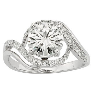 Charles & Colvard 14k Gold 2.20 TGW Round Forever Brilliant Moissanite Solitaire Ring with Sidestone