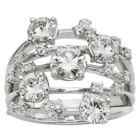 Moissanite by Charles & Colvard 14k White Gold 3.13 TGW Galaxy Fashion Ring