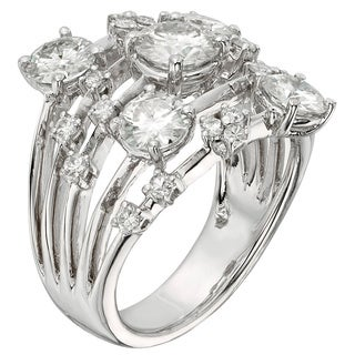 Charles & Colvard 14k White Gold 3 1/6ct DEW Forever One Near Colorless Galaxy Fashion Ring