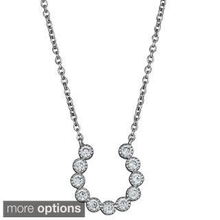 Decadence Sterling Silver Cubic Zirconia Bubble Horseshoe Necklace