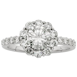 Charles & Colvard 14k Gold 1 4/5ct DEW Round Forever Brilliant Moissanite Halo Engagement Ring