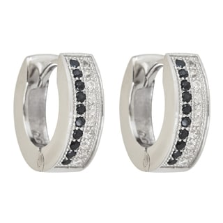 Decadence Sterling Silver Cubic Zirconia Black and White Micropave Hoop Earrings