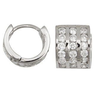 Decadence Sterling Silver Cubic Zirconia 3-strand Micropave Hoop Earrings