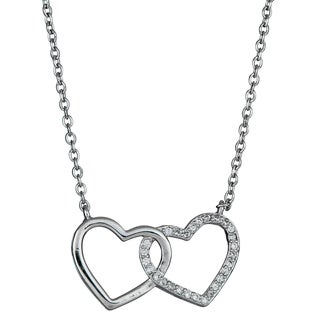 Decadence Sterling Silver Cubic Zirconia Micropave Interlocking Heart Necklace