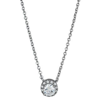 Decadence Sterling Silver Cubic Zirconia Micropave Halo Solitaire Necklace