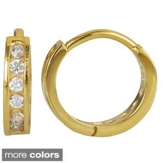 Decadence 18k Gold over Silver Cubic Zirconia Single Row Hoop Earrings