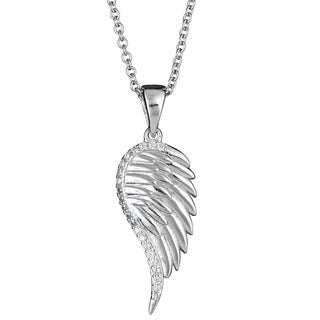 Decadence Sterling Silver Cubic Zirconia Micropave Single Wing Pendant