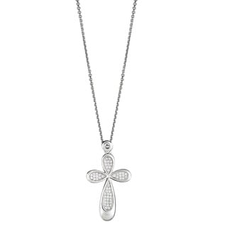 Decadence Sterling Silver Cubic Zirconia Micropave Cross Pendant Necklace