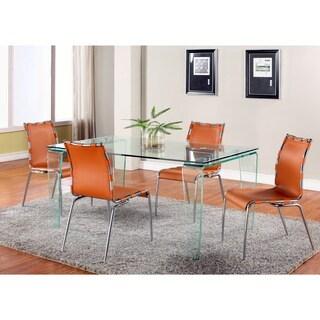 Somette Vivian Modern 63-inch Glass Dining Table - White