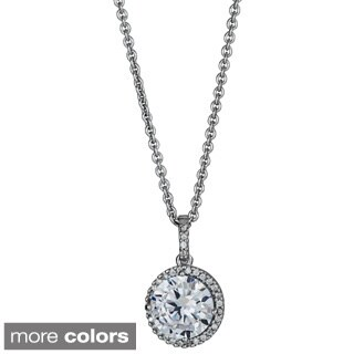 Decadence Sterling Silver Cubic Zirconia Micropave Halo Solitaire Pendant