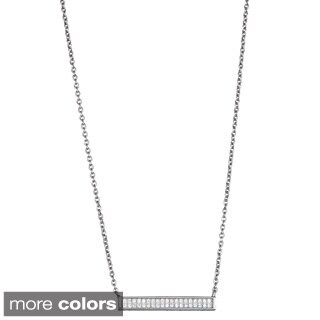 Decadence Sterling Silver Cubic Zirconia Sideway Bar Pendant Necklace