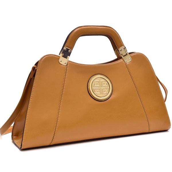 Dasein Emblem Deep Gloss Hinge Handle Removable Shoulder Strap Bag