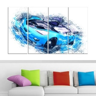 Sky Blue and Black Sports Car' 4-piece Gallery-wrapped Canvas
