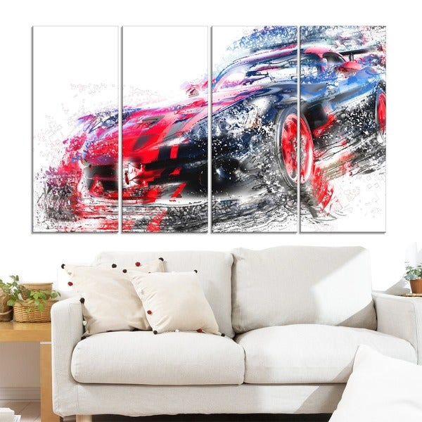 Red and Black Sports Car' 4-piece Gallery-wrapped Canvas
