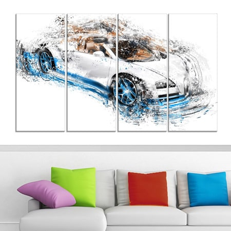 02b1964969 White and Blue Convertible' 4-piece Gallery-wrapped Canvas