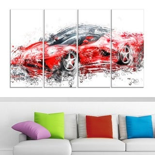 Sleek Red Sports Car' 4-piece Gallery-wrapped Canvas