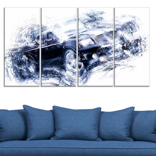 Black Luxury Car' 4-piece Gallery-wrapped Canvas