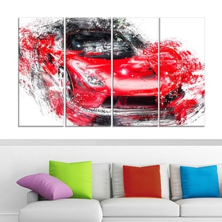 Red Exotic Car' 4-piece Gallery-wrapped Canvas
