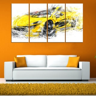 Yellow Exotic Car' 4-piece Gallery-wrapped Canvas