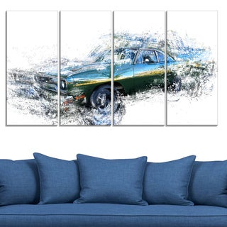 Blue and Green Muscle Car' 4-piece Gallery-wrapped Canvas