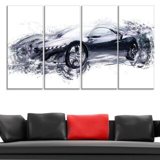 Sleek Black Exotic Car' 4-piece Gallery-wrapped Canvas