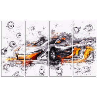 Black and Orange Exotic Car' 4-piece Gallery-wrapped Canvas