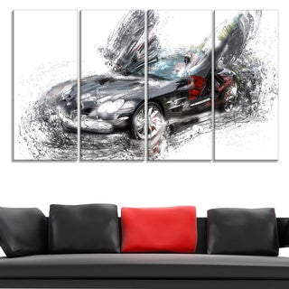 Black Luxury Super Car' 4-piece Gallery-wrapped Canvas