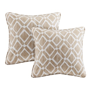 Madison Park Ella Printed Tan 20-inch Pillows (Set of 2)