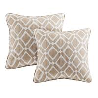 Madison Park Ella Printed Tan 20-inch Square Pillows (Set of 2)