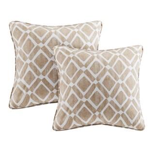Madison Park Ella Printed Tan 20-inch Square Pillows (Set of 2)