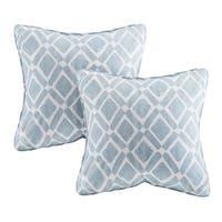 Madison Park Ella Printed Blue 20-inch Square Pillows (Set of 2)