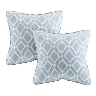 Madison Park Ella Printed Blue 20-inch Square Pillows (Set of 2)