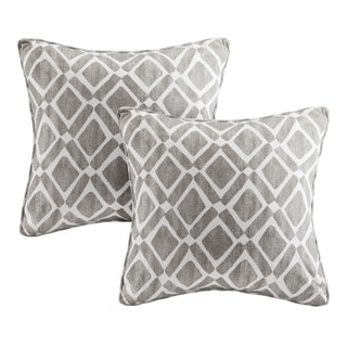 Madison Park Ella Printed Grey 20-inch Squre Pillows (Set of 2)