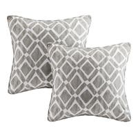 Madison Park Ella Printed Grey 20-inch Square Pillows (Set of 2)